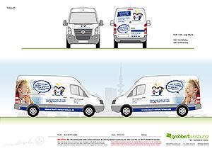 Vollverklebung und Fahrzeugbeschriftung Entwurf